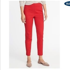 NWT Red High-Rise Super Skinny Ankle Pants